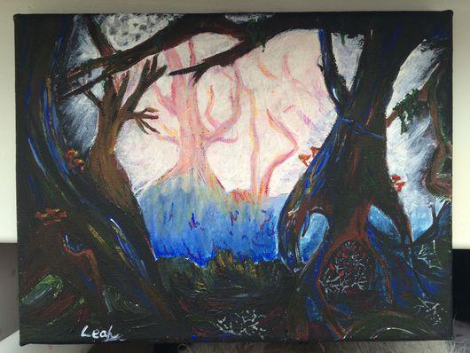 Пейзаж ручной работы. Ярмарка Мастеров - ручная работа. Купить Лес. Handmade. Лес, темнота, черный цвет, деревья