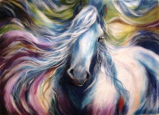 """Животные ручной работы. Ярмарка Мастеров - ручная работа. Купить Картина из шерсти  """"Радужный Конь"""". Handmade. Лошадь, картина для интерьера"""