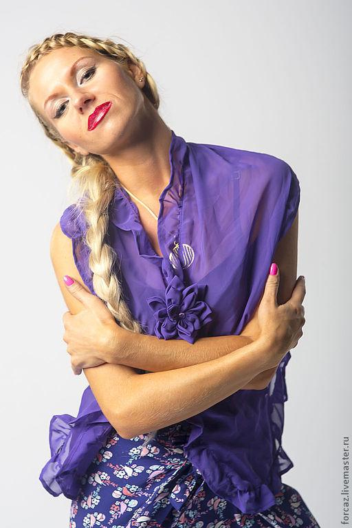 Шарфы и шарфики ручной работы. Ярмарка Мастеров - ручная работа. Купить Шарфик шифоновый фиолетовый. Handmade. Шарф женский, шифон