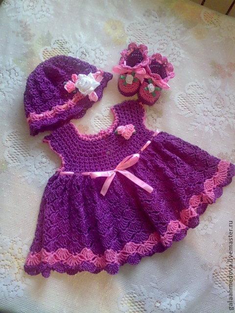 Ажурный комплект, детский наряд,ручной работы, детское платье, вязаный комплект,одежда для девочки, для новорожденной, нарядное платье,\r\nодежда для малышки