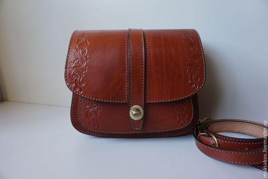 Женские сумки ручной работы. Ярмарка Мастеров - ручная работа. Купить Рыжая сумочка с тиснением. Handmade. Рыжий, натуральная кожа