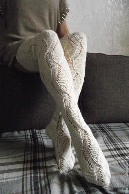 Accessories. Socks. Stockings, tights. Fair masters - handmade. Stockings knitted `White Lotus` by. Handmade.  Stockings. Knee. white. Shop masters of Dominica.