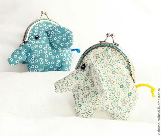 """Кошельки и визитницы ручной работы. Ярмарка Мастеров - ручная работа. Купить Кошелек """"Слон"""". Handmade. Цветочный, слон, синий"""