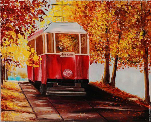 Город ручной работы. Ярмарка Мастеров - ручная работа. Купить Трамвай счастья. Handmade. Комбинированный, картина с трамваем, трамвай