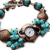 """Украшения ручной работы. Ярмарка Мастеров - ручная работа """"Морской сувенир"""" наручные часы с чешским стеклом. Handmade."""
