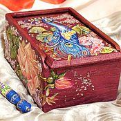 Для дома и интерьера ручной работы. Ярмарка Мастеров - ручная работа Расписная авторская  деревянная шкатулка для украшений на заказ. Handmade.