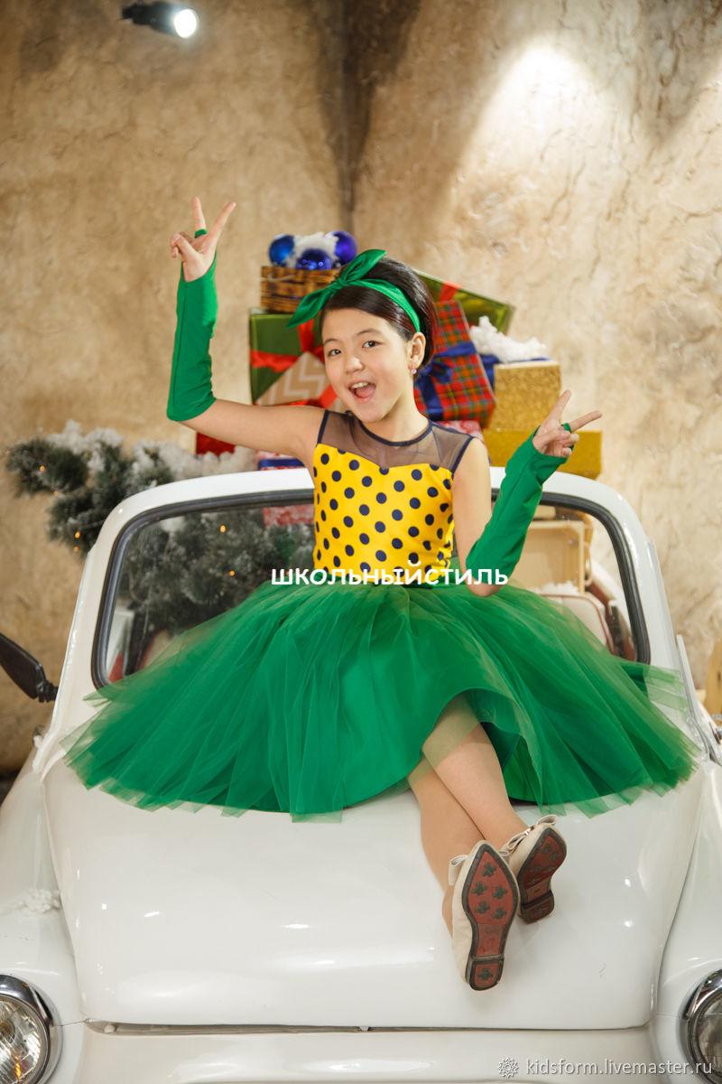 Нарядное платье для девочки Стиляги в горох, Платья, Москва,  Фото №1