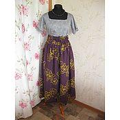 Одежда ручной работы. Ярмарка Мастеров - ручная работа Юбка льняная фиолетовая. Handmade.