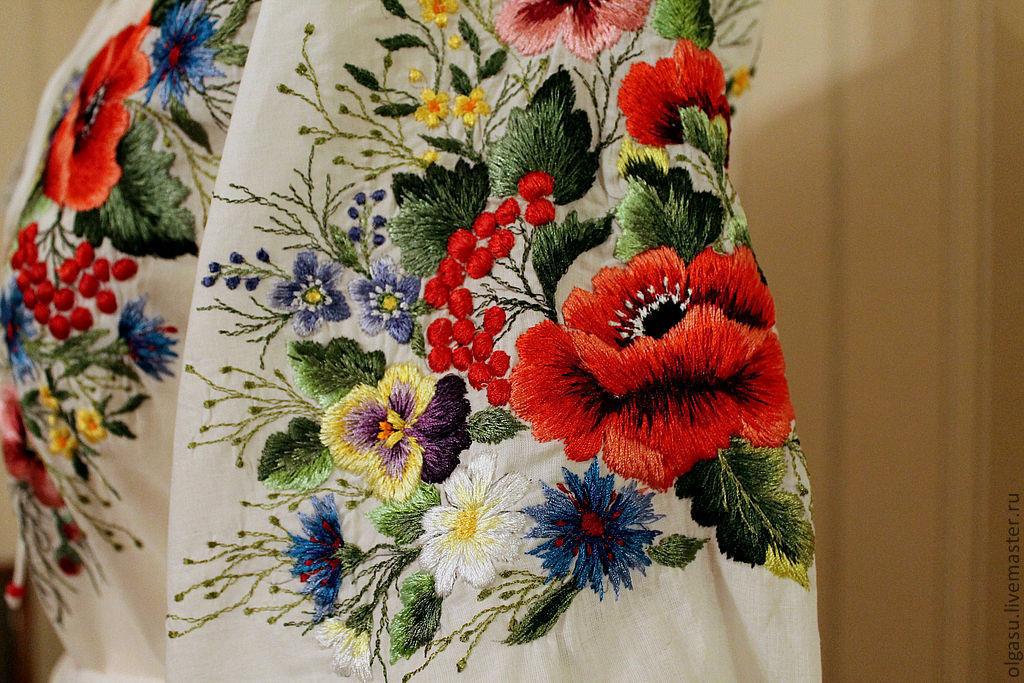 Вышивка ручные цветки
