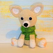 Stuffed Toys handmade. Livemaster - original item Dog, Chihuahua in knitted scarf. Handmade.