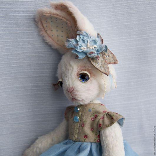 """Мишки Тедди ручной работы. Ярмарка Мастеров - ручная работа. Купить Зайка """"Алина"""", Резерв. Handmade. Голубой, хендмейд, миништоф"""
