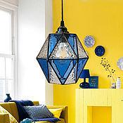 Для дома и интерьера handmade. Livemaster - original item Suspended geometric lamp light ultramarine. Handmade.