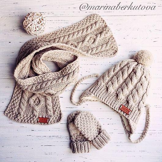 Комплекты аксессуаров ручной работы. Ярмарка Мастеров - ручная работа. Купить Детский вязаный комплект шапочка шарф варежки. Handmade.