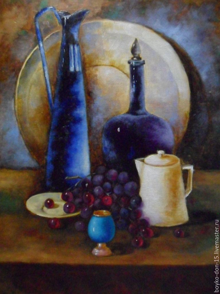 """Картины цветов ручной работы. Ярмарка Мастеров - ручная работа. Купить """"Синий графин"""". Handmade. Синий, картина в подарок"""