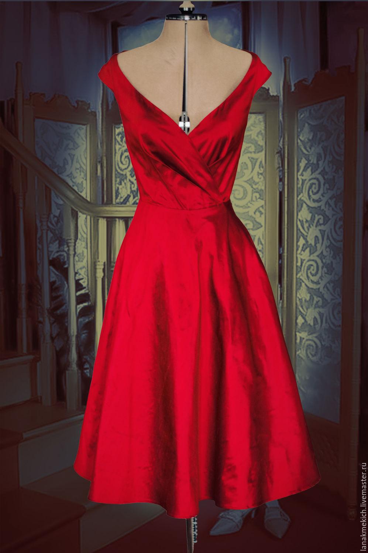 Платье красное в ретро стиле