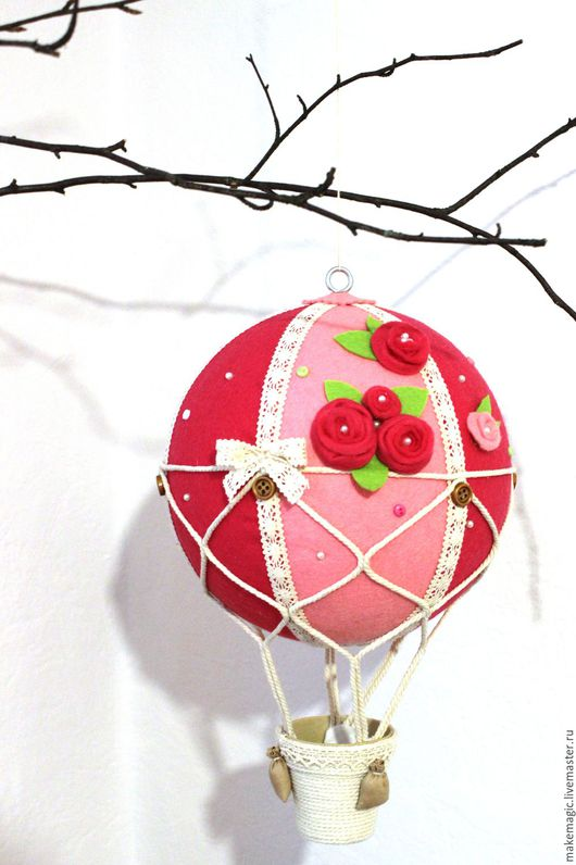 Детская ручной работы. Ярмарка Мастеров - ручная работа. Купить Воздушный шар. Handmade. Фуксия, кружево хлопок, цветы
