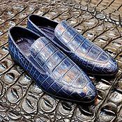 Обувь ручной работы handmade. Livemaster - original item Men`s loafers, made of genuine crocodile leather, blue color!. Handmade.
