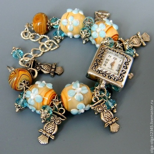 """Часы ручной работы. Ярмарка Мастеров - ручная работа. Купить Часы с браслетом """"Совята"""". Handmade. Серебряный, наручные часы, лэмпворк"""