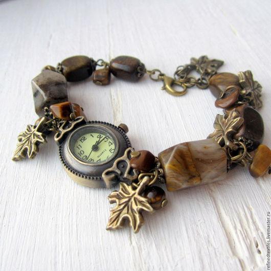 Часы ручной работы. Ярмарка Мастеров - ручная работа. Купить Часы и серьги из натуральных камней с тигровым глазом. Handmade. Коричневый