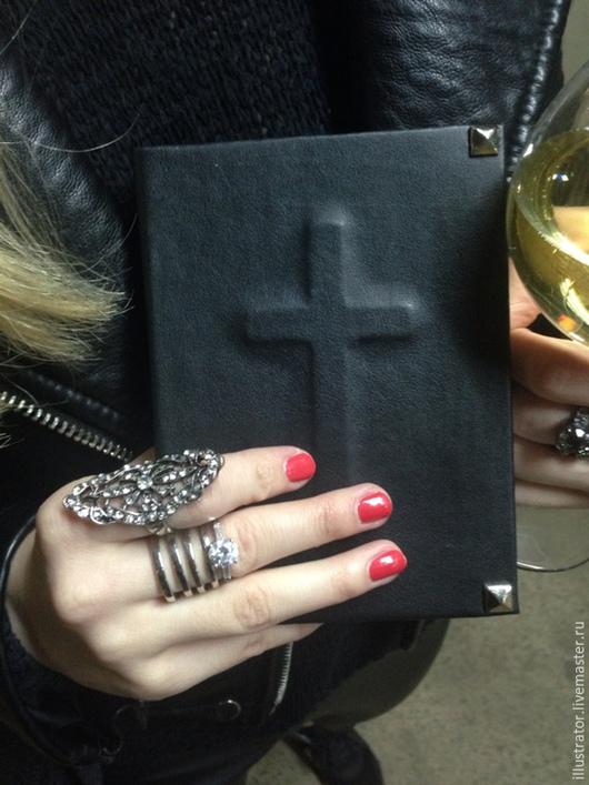 Блокноты ручной работы. Ярмарка Мастеров - ручная работа. Купить Блокнот - молитвенник. Handmade. Черный, крест, дорожный, готический, готичный