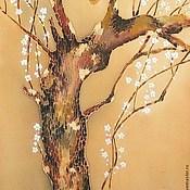 """Картины и панно ручной работы. Ярмарка Мастеров - ручная работа """" Дерево цветущей сливы"""", ручная роспись по шелку.. Handmade."""