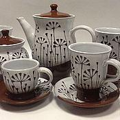 Посуда ручной работы. Ярмарка Мастеров - ручная работа Чайный сервиз с травкой. Handmade.