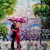 Картины и панно ручной работы. Ярмарка Мастеров - ручная работа Картина маслом   Дождь  на  двоих. Handmade.