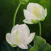 Картины ручной работы. Ярмарка Мастеров - ручная работа Священный цветок-картина маслом. Handmade.