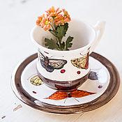 Посуда handmade. Livemaster - original item Motley butterflies. Decorative vase handmade ceramics. Handmade.