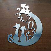 """Для дома и интерьера ручной работы. Ярмарка Мастеров - ручная работа Номер на входную дверь """"Луна, коты..."""". Handmade."""