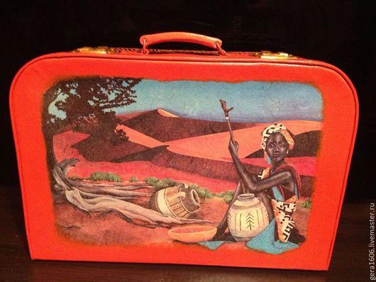 Чемоданы ручной работы. Ярмарка Мастеров - ручная работа. Купить Чемодан Африка. Handmade. Рыжий, упаковка для подарка, 8 марта