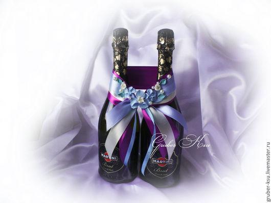 """Свадебные аксессуары ручной работы. Ярмарка Мастеров - ручная работа. Купить Лента для свадебное оформление бутылок  """" Голубые орхидеи"""". Handmade."""