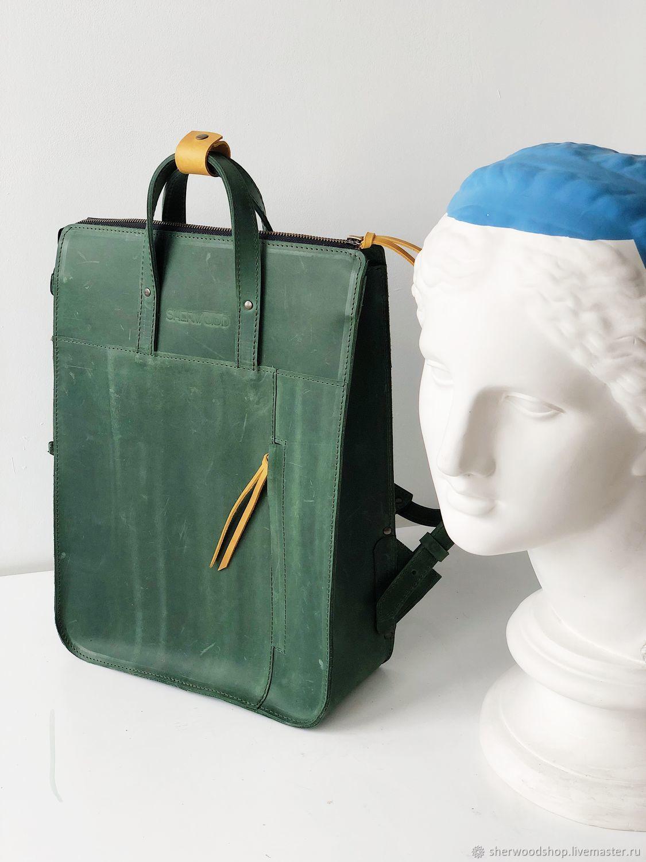 Рюкзак кожаный Бенджамен. Зелёный, Рюкзаки, Москва, Фото №1