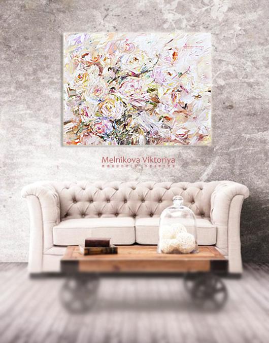 Картина маслом  `Роскошь пастели`- 60/80 см в интерьере