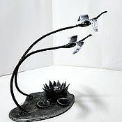 Для дома и интерьера handmade. Livemaster - original item Metal candle holder Swans. Handmade.