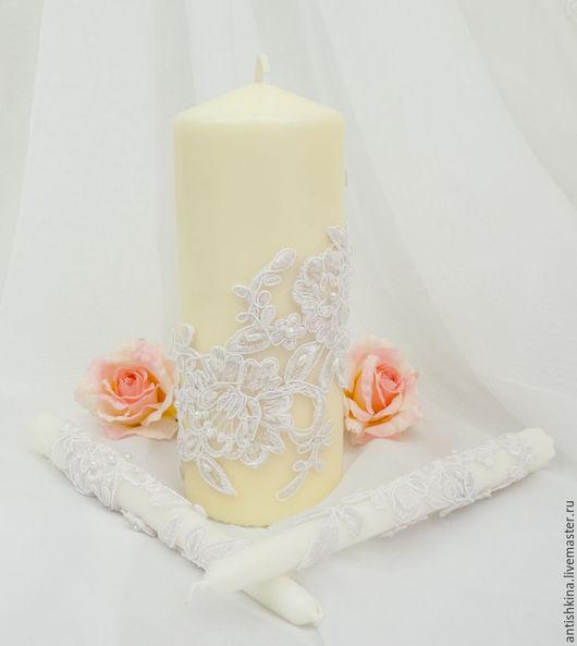 """Свадебные аксессуары ручной работы. Ярмарка Мастеров - ручная работа. Купить Свечи """"Белое кружево"""". Handmade. Белый, свечи свадебные"""