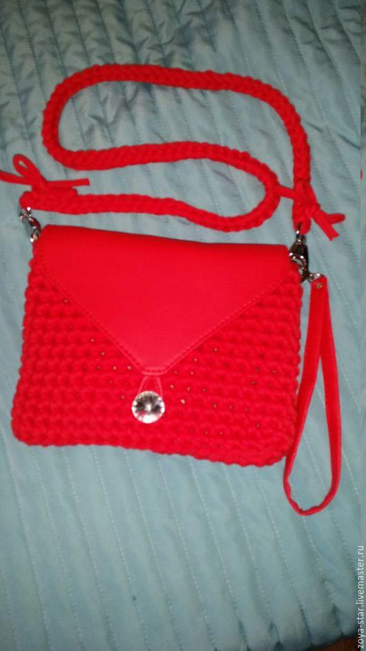 сумка, вязаная, трикотажная пряжа, красная, женская сумка, ручная работа