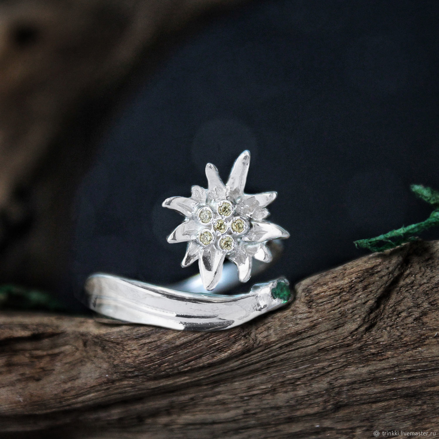 Edelweiss, dimensionless ring in sterling silver, Phalanx ring, Tver,  Фото №1