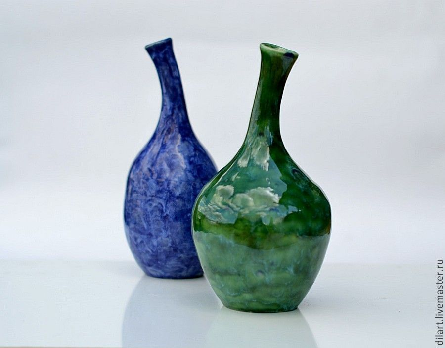 Керамическая ваза Павлин интерьерная бутылка
