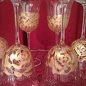 """Посуда ручной работы. Ярмарка Мастеров - ручная работа Фужеры """"Золотые розы"""". Handmade."""