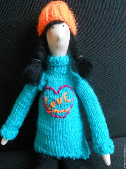 Куклы Тильды ручной работы. Ярмарка Мастеров - ручная работа. Купить Тильда Зимняя куколка  в свитере. Handmade. Комбинированный, подарок