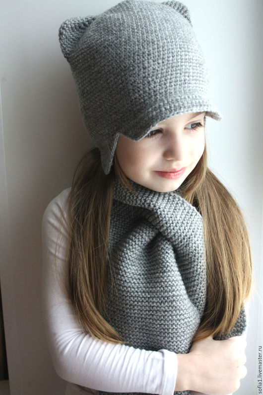 Шапки и шарфы ручной работы. Ярмарка Мастеров - ручная работа. Купить Комплект: шапочка + шарфик. Handmade. Серый