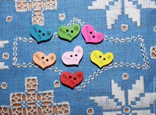 Шитье ручной работы. Ярмарка Мастеров - ручная работа. Купить пуговки деревянные  сердечки с надписью. Handmade. Пуговицы, пуговицы декоративные