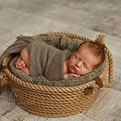 Работы для детей, ручной работы. Ярмарка Мастеров - ручная работа Корзина канатная  для съемки новорожденных / реквизит. Handmade.