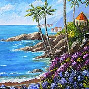 "Картины и панно handmade. Livemaster - original item ""Summer house by the sea"" Oil painting Mediterranean. Handmade."