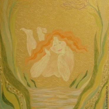 """Картины и панно ручной работы. Ярмарка Мастеров - ручная работа Пастель """"Девушка у воды"""" картина на заказ флора. Handmade."""