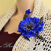Украшения handmade. Livemaster - original item Brooch made of leather poppy blue evening Flower ultramarine. Handmade.