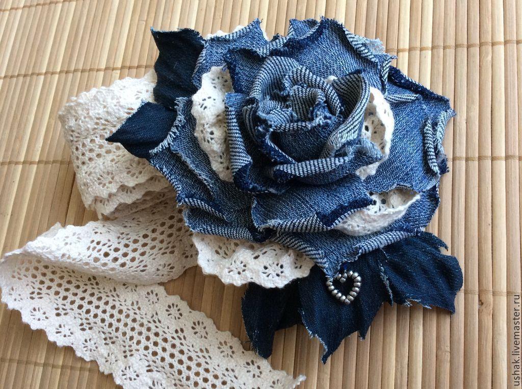 Розы из джинсовой ткани своими руками 96