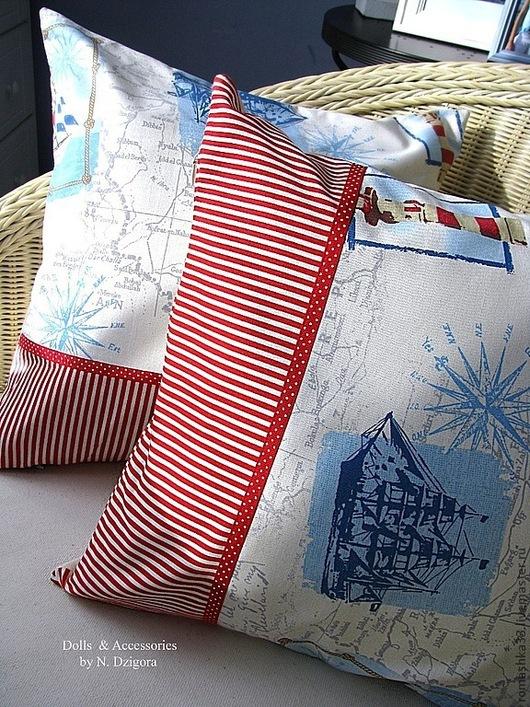 Текстиль, ковры ручной работы. Ярмарка Мастеров - ручная работа. Купить Декоративные чехлы на подушки в морском стиле. Handmade. Синий