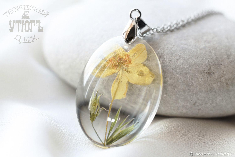 Transparent pendant made of epoxy resin with yellow flower.Oval pendant, Pendant, Samara,  Фото №1